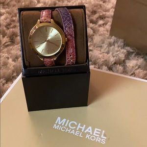 "Michael Kors ""Slim Runway"" Double Wrap Watch"